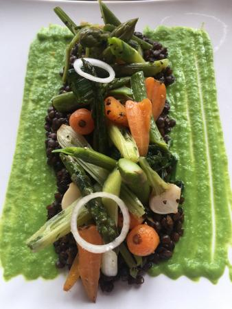 Hanley Swan, UK: Baby carrots, leeks, asparagus, fennel,spinach and turnip on a bed of puy lentils, with pea pure