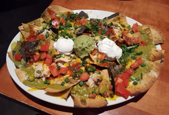 Chicken Nachos A Very Large And Filling Appetizer