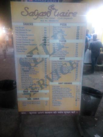 Sagar Gaire Fast Food Menu