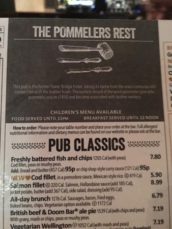 Pub food on Tower Bridge Road