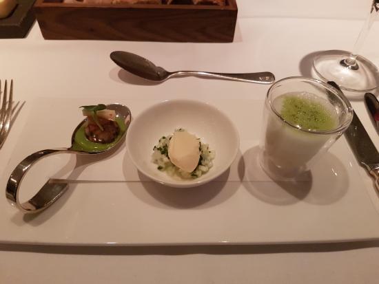 Restaurant Zur Post: Konzertmenü 01.05.2016: Gruß aus der Küche, unter anderem mit Spargeleis