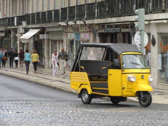 """Praca do Comercio (Terreiro do Paco): Lisboa """"Tuk-Tuk"""" near Praca do Comercio or 'Terreiro do Paco (Palace Square)."""