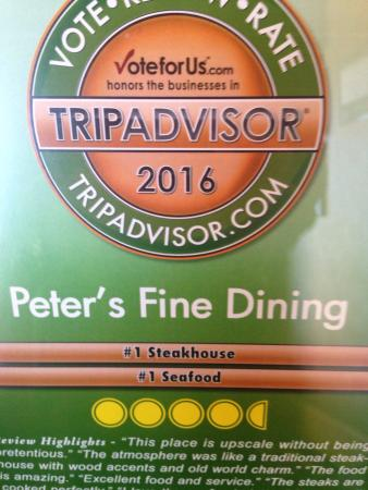 Markham, Kanada: It is an honor to receive this award from Trip Advisor we will continue to strive for the best a