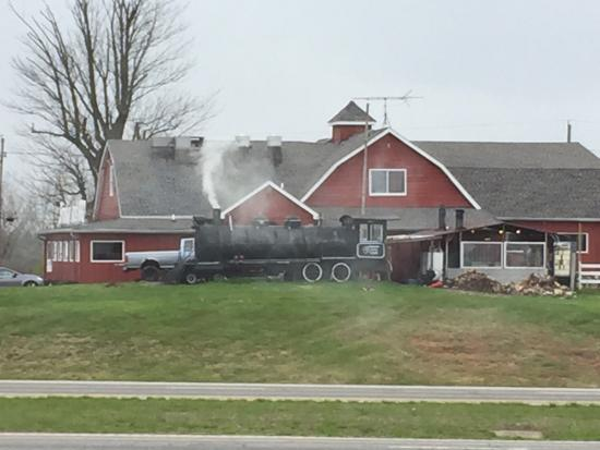 Bedford, IN: Smokin' Jim's Locomotive fired up smoker!