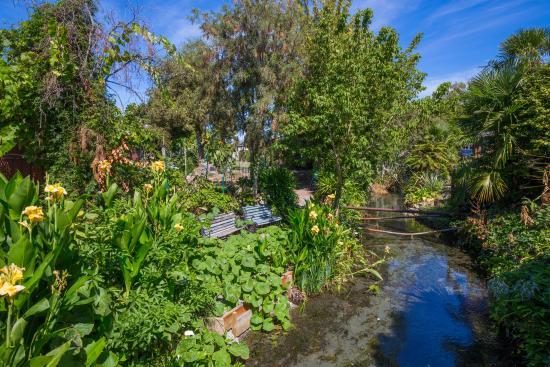 Middle Park Motel : Creek & Gardens