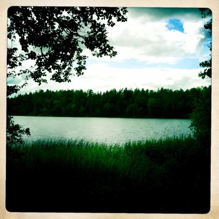 Uppsala, Sverige: Lovely view over the lake from one of the hiking trails