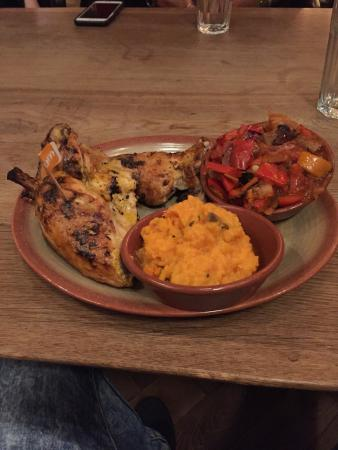 Nando's: 1/2 peri-peri chicken with sweet potato mash and roasted vegetables