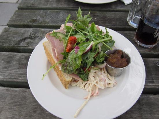 Thorpeness, UK: Ham and Spiced Chutney Open sandwich