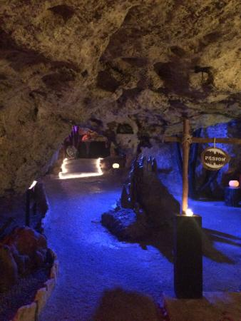 walking the caves after dinner