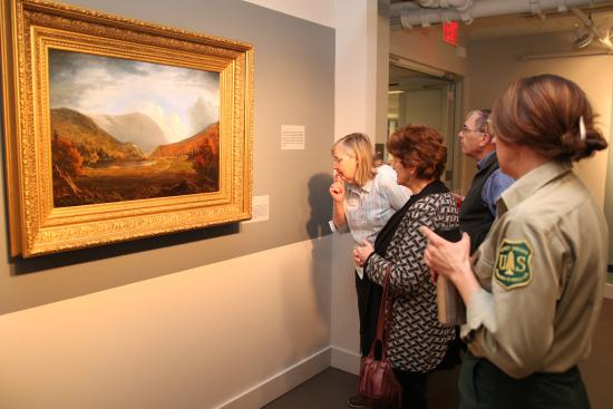 ‪‪Plymouth‬, ‪New Hampshire‬: Visitors admire a painting by Lauren Sansaricq, a contemporary North Conway artist. From the Mus‬