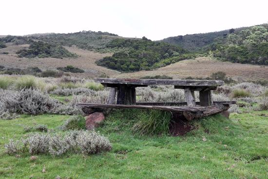The Fishing Lodge Guest House : Rustic picnic table with the beautiful view