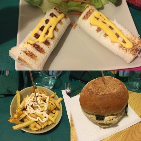 Highland Pub: Antipasto di benvenuto,patatine con formaggio fuso&mayo,panino con provola,friarielli e crema zu