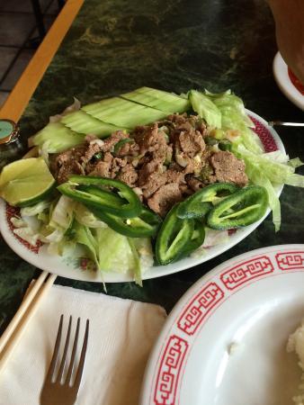 Garberville, Калифорния: Beef salad