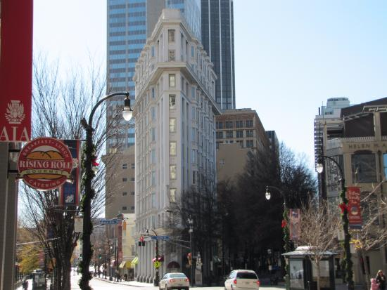 The Flat Iron Building on Peachtree Street front view.