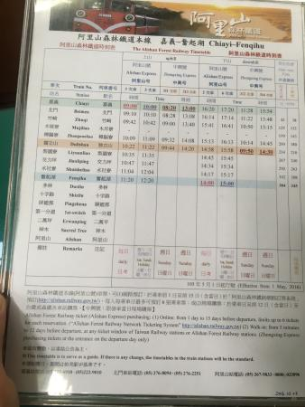 Bus and train timetables from Chiayi for reference -- these