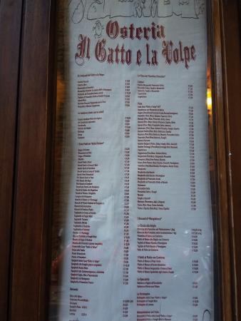Menu Picture Of Osteria Il Gatto E La Volpe Florence Tripadvisor
