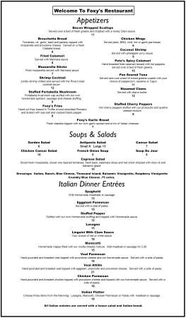 Foxy's Restaurant : Our Menu Page 1