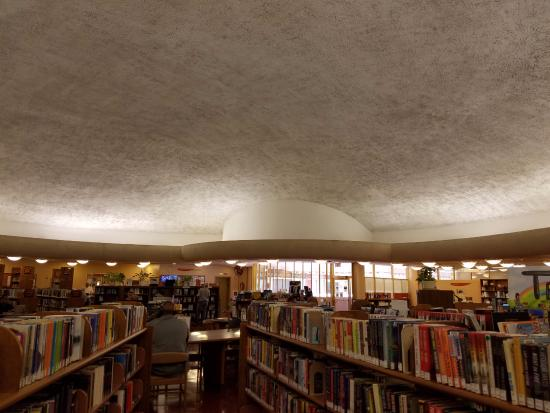 Library ceiling designed to provided gently diffused lighting