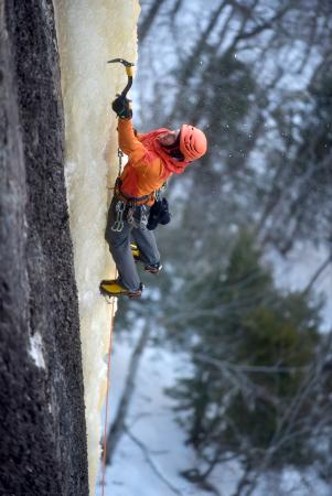 Belfast, ME: NVCG owner Ryan Howes climbing his favorite route at Frankenstein Cliffs: Dropline, NEI 5