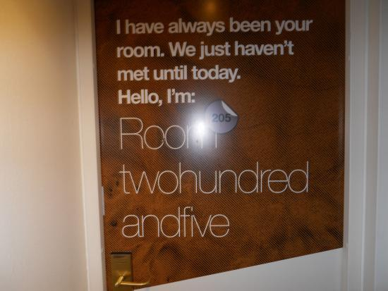 Conscious Hotel Museum Square: Instead of the usual room numbers, here is the fun way they note the room