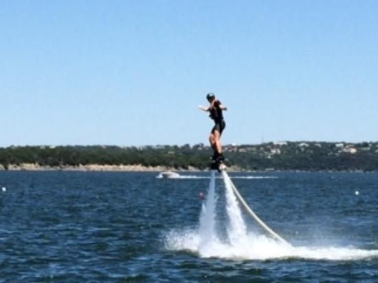 Aquafly Austin - A Flyboard Experience: This flier is over 6ft tall to give you an idea of how high you get