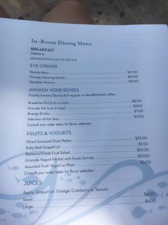 Atlantis Room Service Menu