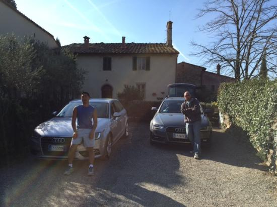 Driveway of Il Vicario with me and my brother