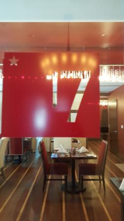 17 at Alden-Houston: Red 17 door sign, advertising the hotel's 17 Restaurant