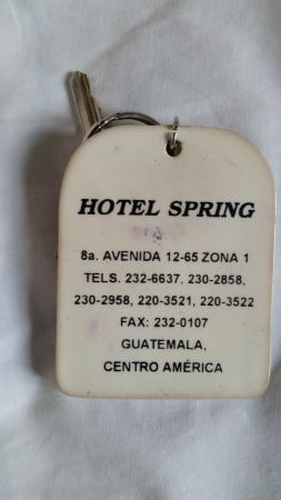 Hotel Spring: Key with address and phone