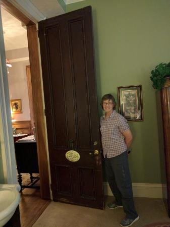 Jeffersonville, IN: Inside the Garden Hideaway room (first floor) -- check out the height of that door!