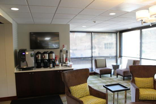 Coffee and seating area