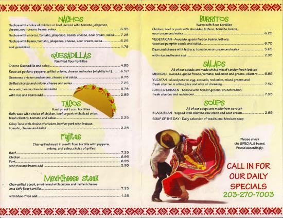 Mexicali Rose: Regular Lunch Menu
