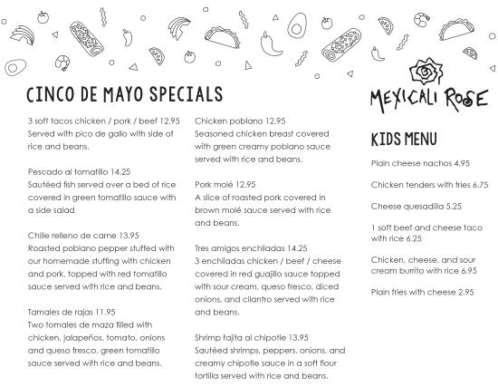 Mexicali Rose: Cinco De Mayo Dinner Menu