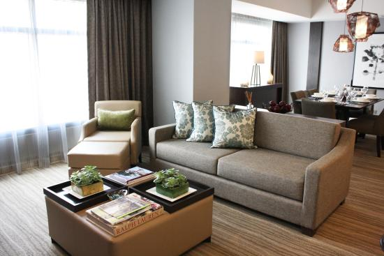 Living Room and dining area of the newly renovated Ascott Makati (2-Bedroom Suite)