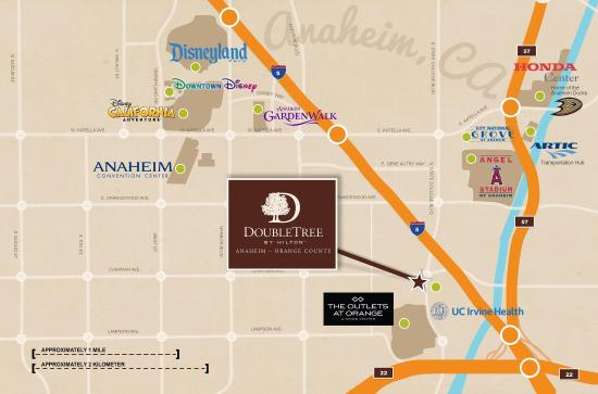 Doubletree by Hilton Anaheim - Orange County: Attractions Map