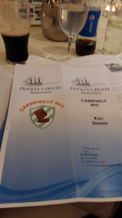Dooley's Hotel Waterford: menu first night