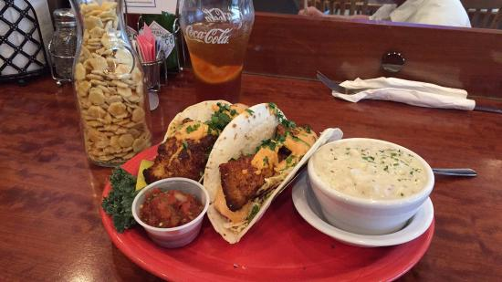 Des Moines, WA: Blackened halibut fish tacos with clam chowder.