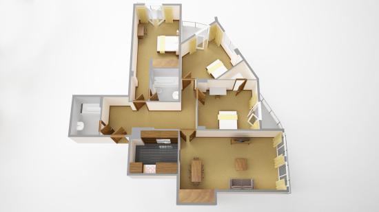 Sanctum International Serviced Apartments : 3 bedroom deluxe floorplan