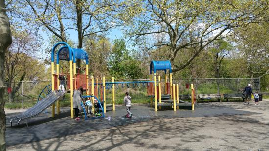 Bayside, NY: Jungle gyms at Horatio Playground