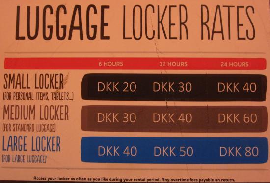 Generator Copenhagen: Luggage locker rates