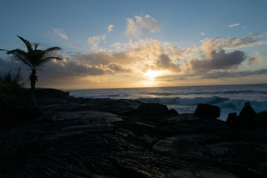 Ma'ukele Lodge: Sunrise over the Pacific near my room