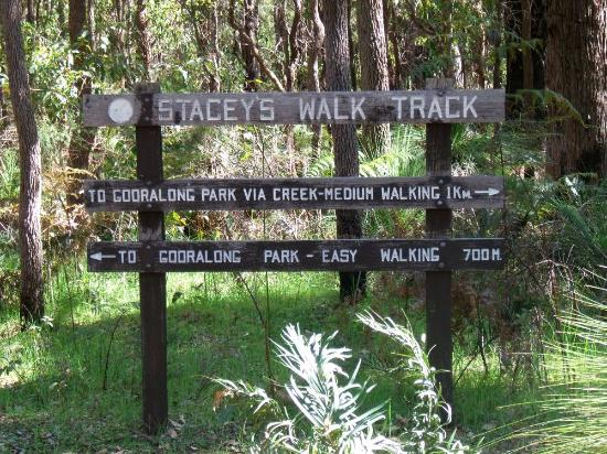 Entrance to Gooralong Park is via Stacey's Walk Track