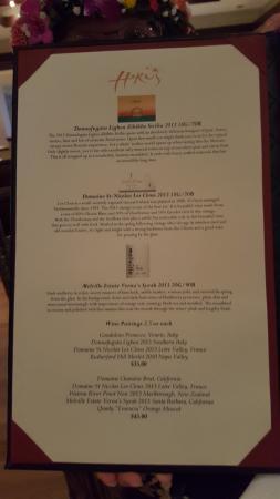 Hoku's wine menu