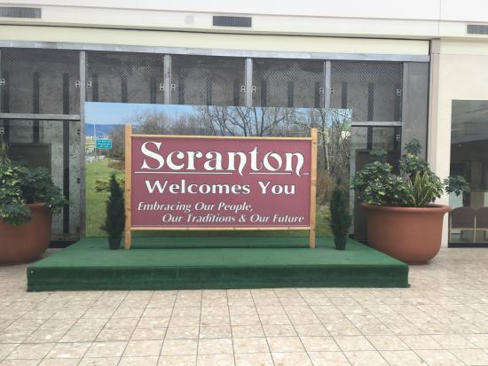 The Marketplace at Steamtown: Welcome to Scranton sign from The Office.