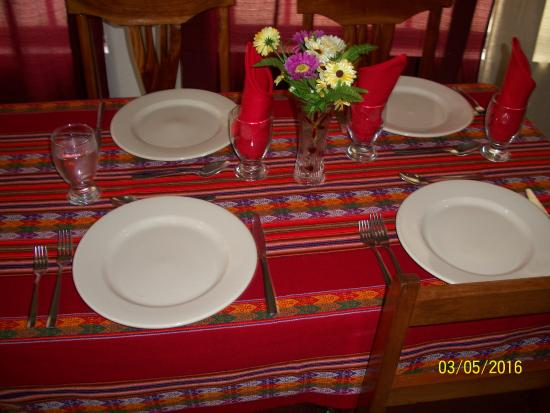 Restaurante Mar Del Peru Nice Table Setting With Peruvian Type Cloths