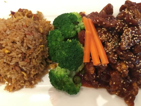Great Neck, NY: Sesame beef, divine roast pork fried rice.