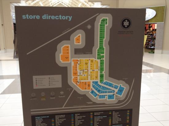 6cd46d1630 Store maps. - Picture of Fashion Outlets of Niagara Falls