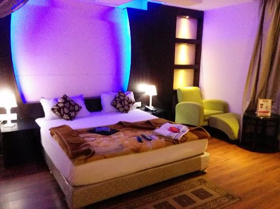 My Room With Blue Night Lights Surrounding The Most Welcoming Bed