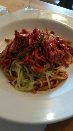 The House: Flatiron steak with wasabi noodles