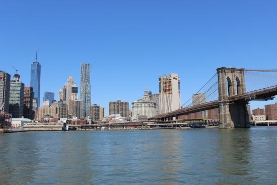 Ny Water Taxi Vue Sur La Freedom Tower Et Le Pont De Brooklyn